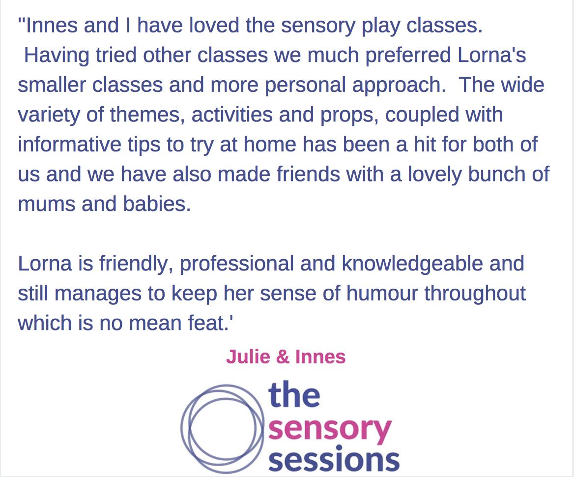 sensory play class testimonial