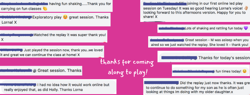 feedback on our sessions